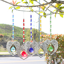 H & D 5 Crystal Suncatcher 펜던트 천사 날개 손수 장식품 세트 홈 Fengshui Decor Rainbow Maker Prisms Pendant