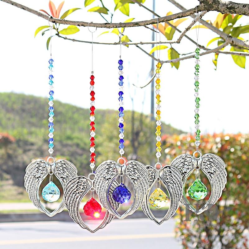 Conjunto H & D de 5 Crystal Suncatcher Colgante Colgante Angel Wing - Productos de jardín