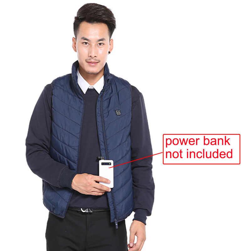 Erkekler Kadınlar Isıtma Yelek USB Elektrikli Termal Giyim Kış Vücut Isıtma Sıcak Yelek Akıllı Termostatik Yelek Artı Boyutu S-4XL