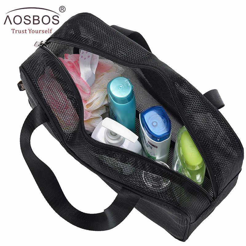 Aosbos Malha Zipper Sacos de Maquiagem para Mulheres Dos Homens de Viagem Saco de Cosmética Portátil Bolsas De Armazenamento Multifuncional Saco de Lavagem De Poliéster