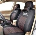 Asiento delantero 2 cubierta para volkswagen vw golf 4 5 passat b5 polo de algodón mezclado de seda gris negro beige bordado logo fundas de asiento de coche