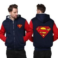 USA Size Superman Cosplay Coat Zipper Hoodie Winter Fleece Unisex Thicken Jacket Sweatshirts