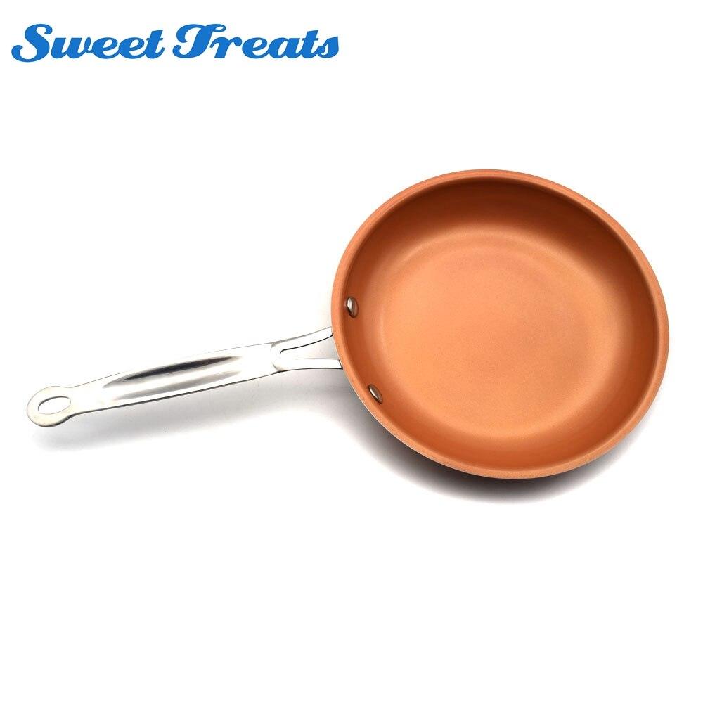 Sweettreats 8/10/12 inchNon-מקל נחושת מחבת עם ציפוי קרמי בישול אינדוקציה, תנור ומדיח כלים בטוח