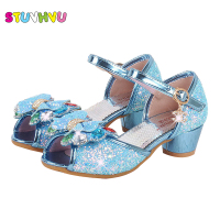 Girls High Heels Princess Shoes Children Sandals For Girl Weddings Banquet Shoes Kids Crystal Bow Shiny