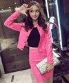 Conjuntos de otoño de las nuevas mujeres Coreanas retro faldas de la chaqueta de cuero de LA PU trajes casuales de las mujeres de LA PU chaqueta de la rebeca Delgada faldas 2 unidades conjuntos