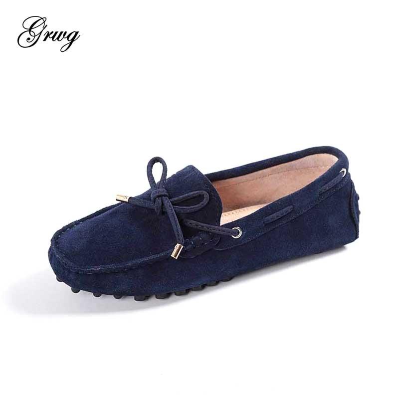 Весенне летние женские мокасины ведущий бренд женская обувь на плоской подошве из натуральной кожи повседневные лоферы слипоны обувь для вождения-in Женская обувь без каблука from Обувь