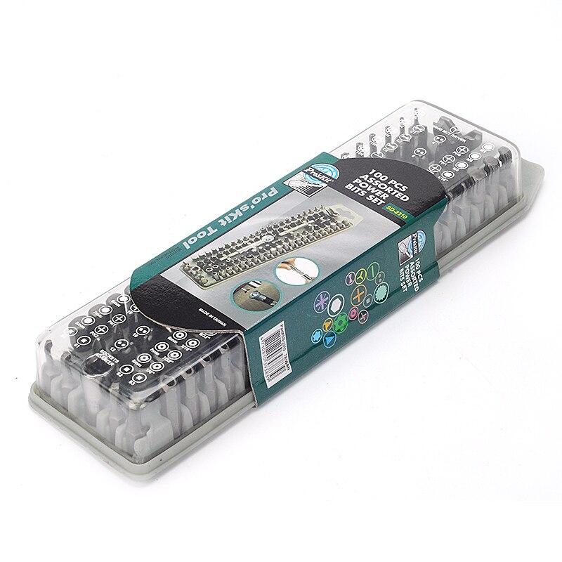 Купить с кэшбэком ProsKit 100pcs Assorted Power Bits SD-2310 All in One Set screwdriver exchange bits for DIY ratchet Tool steel bits
