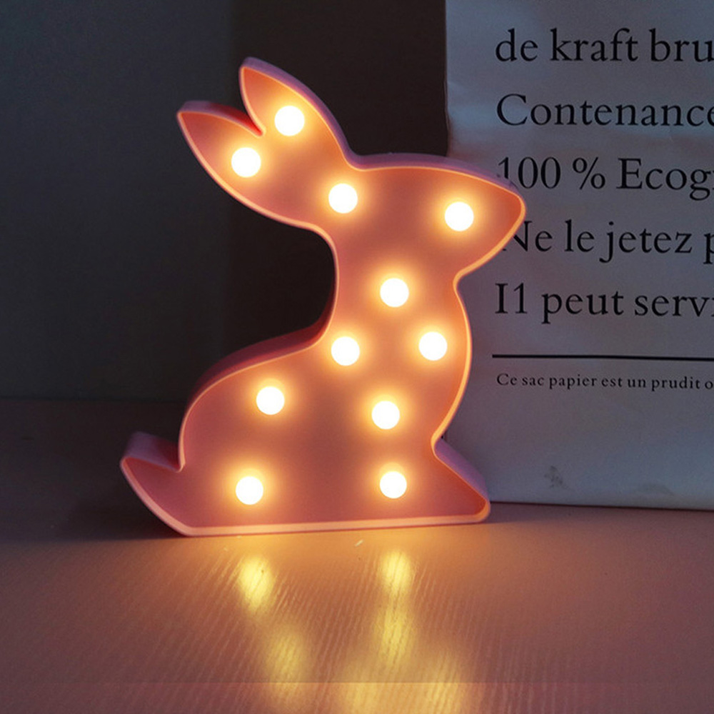 Cute Bunny 3D LED Night Light Animal Rabbit Children's Night Lights Wall Lamp Home Decoration Kids Birthday Holiday Gift cute little cat kitty animal 3d lampen 7 color usb night lamp led lights for kids birthday gift support dropshipping
