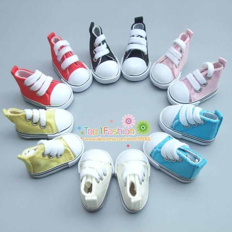 Free Shipping One pair 5 cm Canvas Shoes For BJD Doll Fashion Mini Toy Shoes Bjd Doll Shoes for Russian Doll Accessories uncle 1 3 1 4 1 6 doll accessories for bjd sd bjd eyelashes for doll 1 pair tx 03