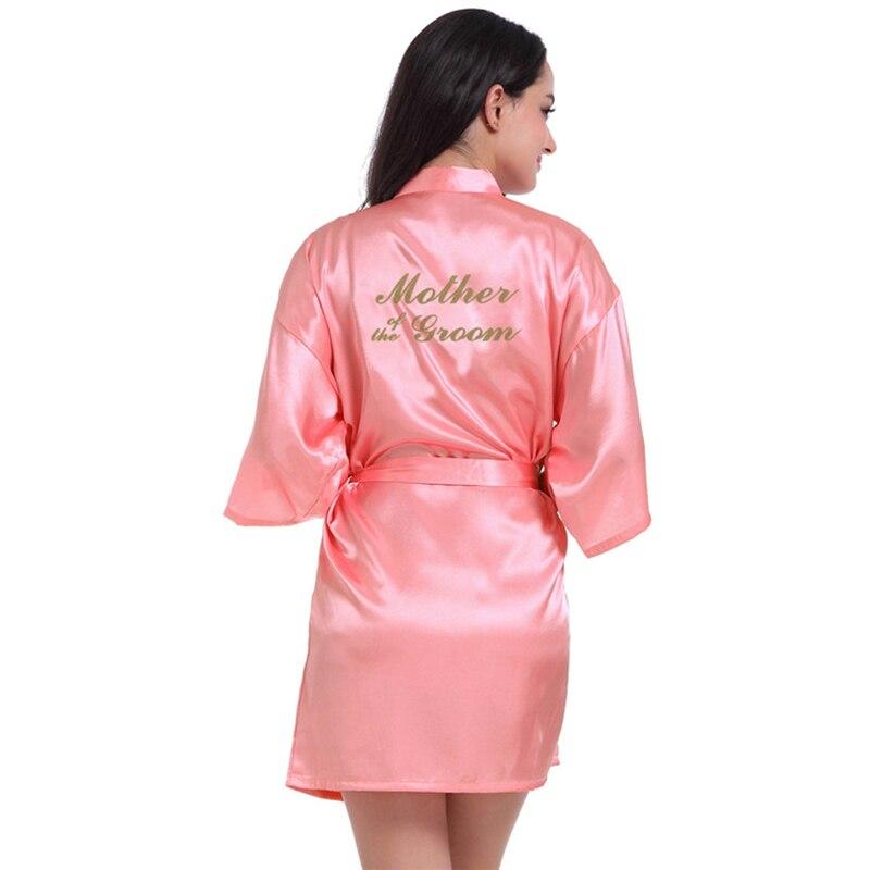dark pink robe silver letter kimono satin pajamas wedding bridesmaid sister mother of the bride robes