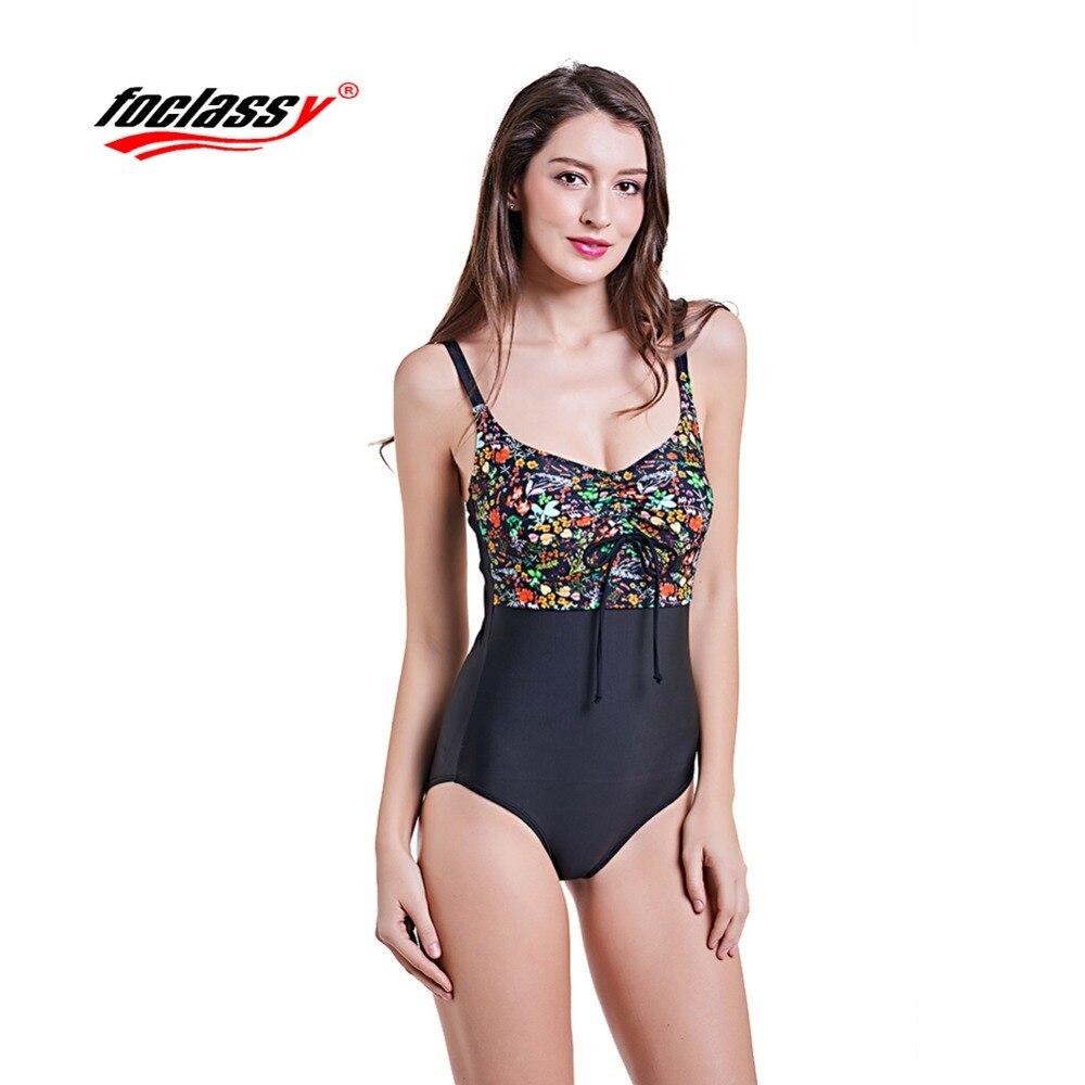 Foclassy Swimsuit Bikini 2018 Plus Size Swimwear Womens swimming suit Bandeau Bather Bathingsuit Beach Wear bodysuit 1875