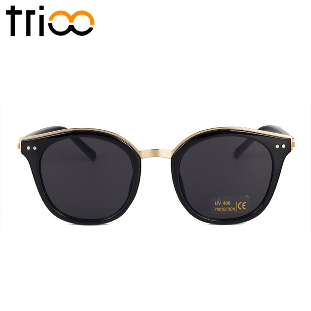 561e295716a TRIOO Round Black Shades Men Stylish Mirror Color Sunglasses Man UV400  Protection Summer Cool Sun Glasses