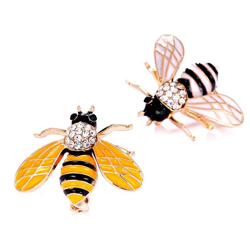 1Pcs Yellow Bee Brooches For Men Cartoon Jewelry Fashion Women's Statement Small Scarf Pins Gold Color Insect Brooches