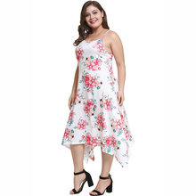 2018 New Summer Sexy Off Shoulder Floral Print Dress Big Size Women Dresses Casual Sleeveless Plus Size White Beach Dress 4XL 2018 new designer women dress summer 6xl vestidos sleeveless print beach sexy plus size dress oversized straight casual dresses