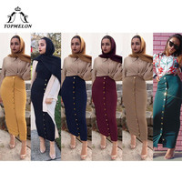 TOPMELON Muslim Pencil Skirt Women Long Solid Bottoms Fashion Package Skirts Buttons Decorated Elastic Skirt Black Navy Yellow