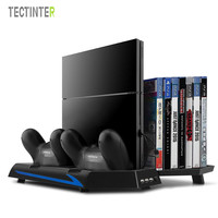 Vertical Stand Cooling Fan For Sony PS4 Console USB Dual Charging Station For Dualshock 4 Controller Game Disc Storage Hub Ports