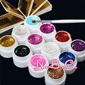 12 Color Glittery UV Gel Pink White nail Brush False Nail Tips Paint Gel Polish Gel Glitter UV Builder Gel Set Nail Art Salon