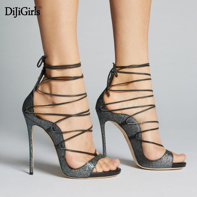 Summer ladies sandals sexy strappy heels fashion peep toe black shoes for women cross lace up women gladiator sandals new fashion women plus size 34 42 peep toe slingbacks cross straps narrow band sandals sexy high heels gladiator women shoes