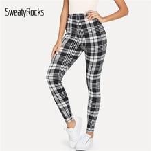 SweatyRocks фитнес Черно-Белые Клетчатые Леггинсы со средним обхватом талии леггинсы для тренировок осенние женские повседневные штаны и брюки