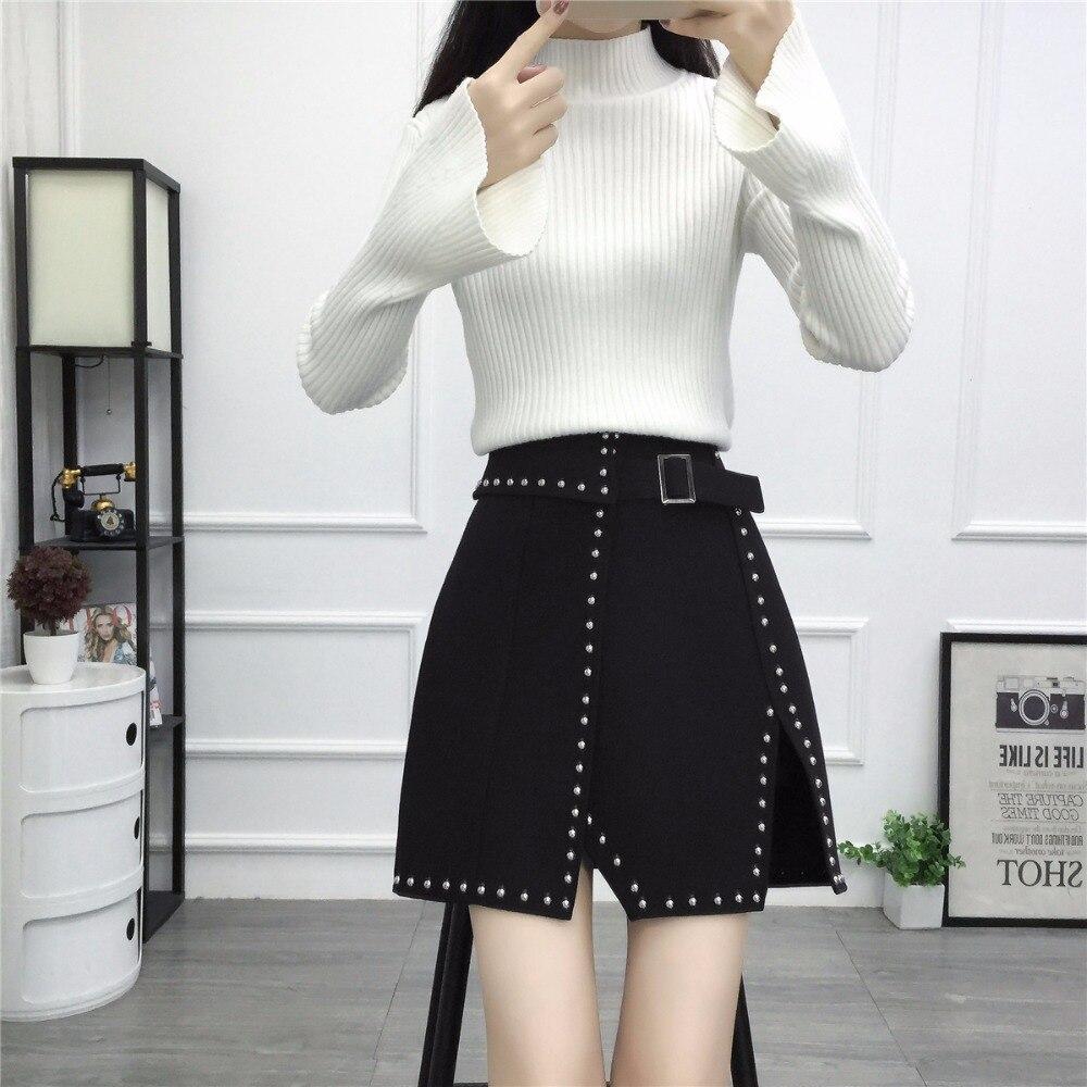 738dca6454 2018 moda Vintage estilo punky remache negro femenina Shorts mini falda coreano  XXXL Mujer Faldas cortas Mujer en Faldas de La ropa de las mujeres en ...