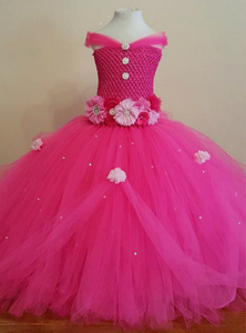 Платье-пачка для девочек, яркое, розовое, со стразами