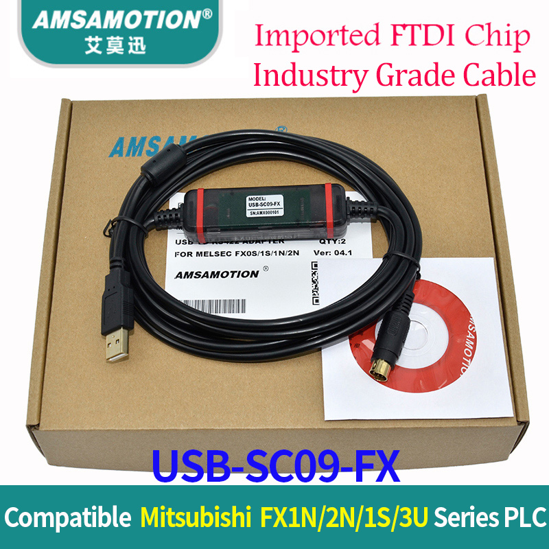Built-in FTDI Chip Cable USB-SC09-FX Compatible Mitsubishi FX1N 2N 1S 3U Series PLC Programming Cable Data Download Cable