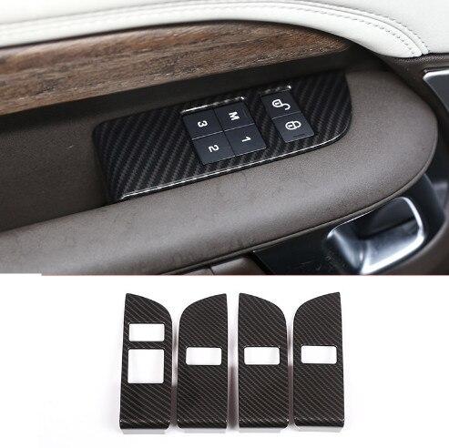 4 pièces carbone ABS Chrome voiture sécurité enfant serrure de porte interrupteur panneau couvercle garniture pour Land Rover Discovery 5 LR5 L462 2017 2018