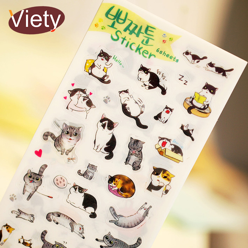 6 Pcs/lot Cute Cat PVC Paper Sticker Diy Planner Decorative Sticker Scrapbooking Diary Kawaii Stationery