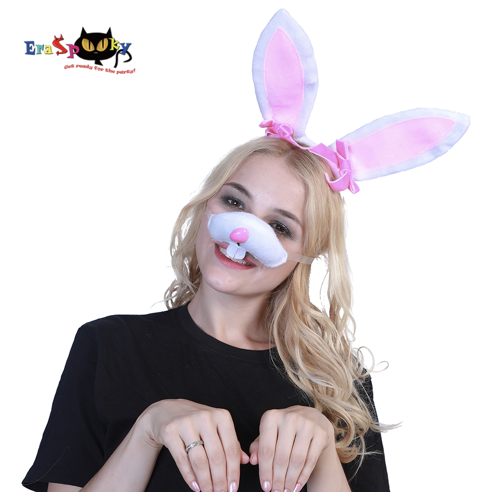 Eraspooky Halloween costume accessories women Easter cosplay bunny ear nose set Animal Adult Rabbit Costume Cut Bunny Kit