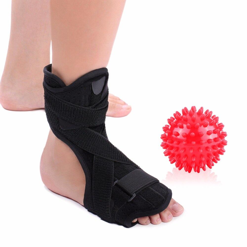 Yosoo Medizinische Fuß Drop Knöchel Schiene Unterstützung + Spiky Massage Ball Plantarfasziitis Dorsalen Nacht Schiene Fuß Orthese Stabilisator
