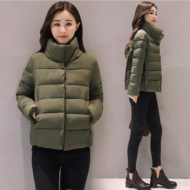 new women winter jacket short cotton padded womens coat autumn casaco feminino inverno solid color parka stand collar women