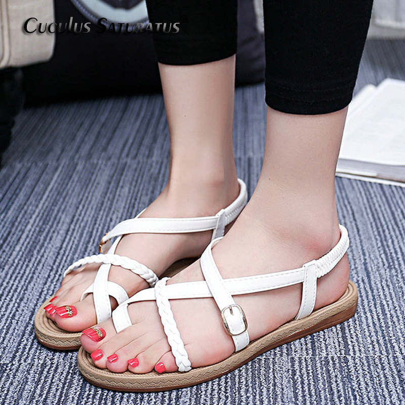 Cuculus 2018 summer shoes flat sandals women aged soft flat fashion sandals comfortable mother shoes free shipping 201 timetang mother sandals soft leather large size flat sandals summer casual comfortable non slip in the elderly women s shoes