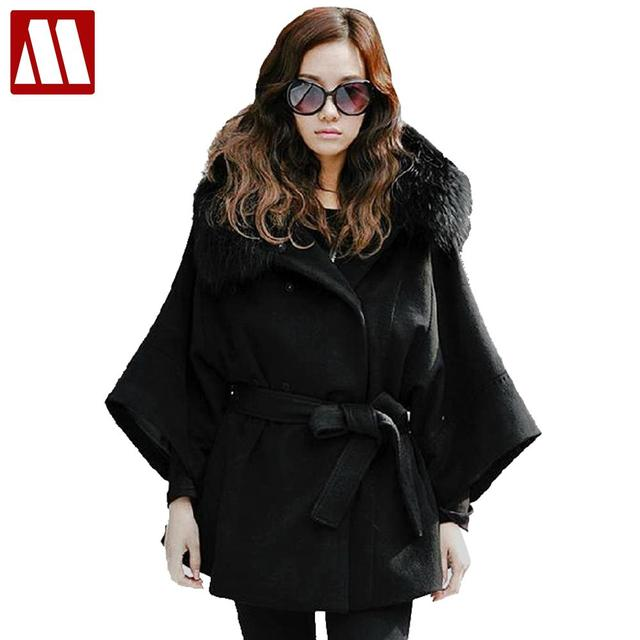2015 Winter Ladies Sexy Fox Fur Collar Outerwear Women's Fashion Long Black White Coat Fur Jacket Wool Clothes overcoat S M L