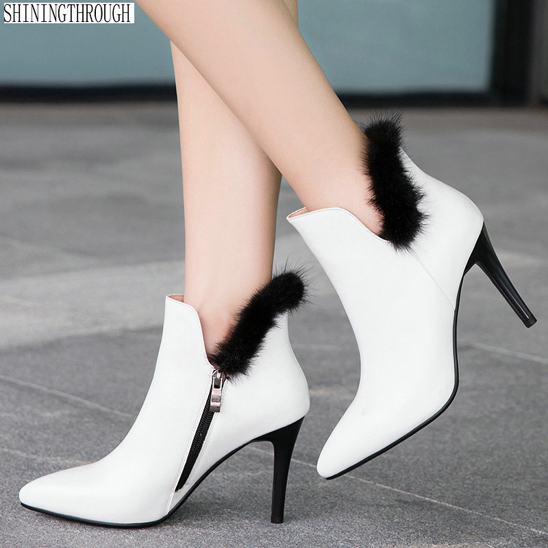 New cow leather thin high heels women ankle boots office ladies dress shoes sexy fur autumn winter boots woman size 41 42 43 spring autumn winter platform high heels ankle boots women short boots ladies shoes botas botte femme plus size 34 40 41 42 43