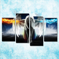 4 Piece Canvas Painting Angel Power Girls Anime Demons Prints Painting Wall Art Angeles Girl Poster