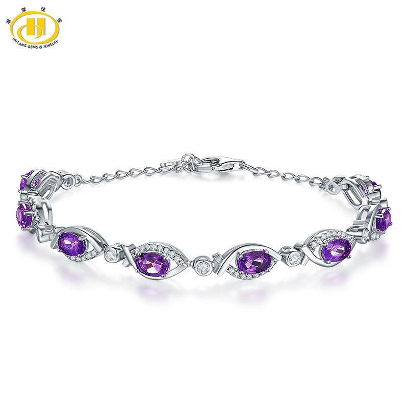 купить HUTANG New Women Aquamarine Bracelet Bangles Bracelets For Women Water Drop Solid 925 Sterling Silver Purple White Pulseiras онлайн