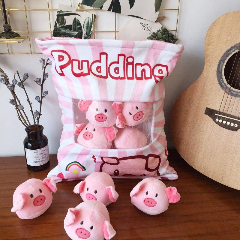 candice guo plush toy cartoon pillow stuffed doll pudding pig piggy small ball package cushion pocket 8pcs/bag birthday gift 1pc