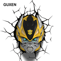Guxen Bumblebee Transformation Shaped 3D Lamp Kids Toys Action Figures Movie Robot LED Night Light Kids Boys Toys Gifts Light