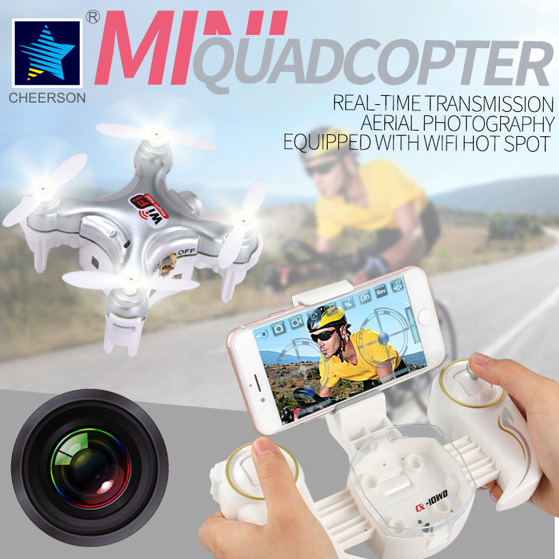 Cheerson Quadcopter CX-10W Drone With 0.3MP Camera 4CH 6-Axis Helicopter with LED light Phone WIFI control RC toys Throw to Fly july king 18w 6500k 6leds led daytime running lights led fog lamp case for toyota aygo 2005 on over 1260lm pc