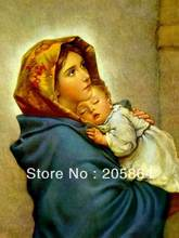 Envío gratis tamaño pequeño arte de la tapicería, estilo religión imagen decoración de la tela, articulación de la pared, virgen maría con el hijo