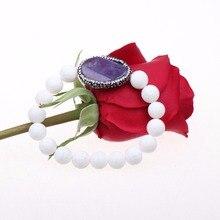 Pulseras de cuentas para las mujeres hombres joyería de moda declaración de cristal púrpura de piedra de coral Blanco encanto ronda pulsera Pulseiras feminin