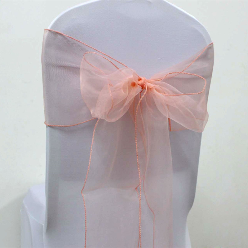 100pcs Fancy Peach Organza Chair Sashes Wedding Self Tie Chair Bows For Party Event Banquet Decoration