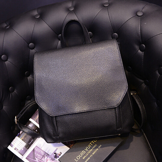 X-Online hot selling women black PU leather backpack