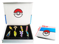 Pokemon B/W2 Teselia 8 de la Liga de Metal Pin Insignia Pip Gen 5 Cosplay Prop Collection Set 8 * placas + caja de 12*16*3 cm