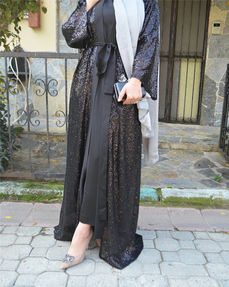 Muslim Sequins Abaya Cardigan Party Maxi Dress Long Robe Gowns Tunic Kimono Middle East Ramadan Arab Islamic Prayer Clothing