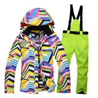 Топ брендовые зимние куртки Для женщин лыжный костюм Спорт на открытом воздухе Лыжный Спорт куртки брюки наборы ветрозащитный зимний Терма