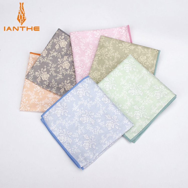 2018 Brand New Men's Fashion Cotton Flower Pocket Squares For Men Handkerchief Wedding Vintage Hanky Suits Pocket Hankies Towel