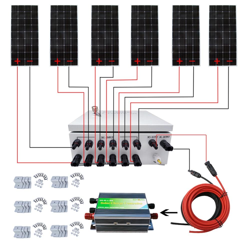 6PCS 160W Mono Solar Panel 900W Solar System w/ Combiner Box for Home Power RV rv 213 фигурка дама полицейский w stratford