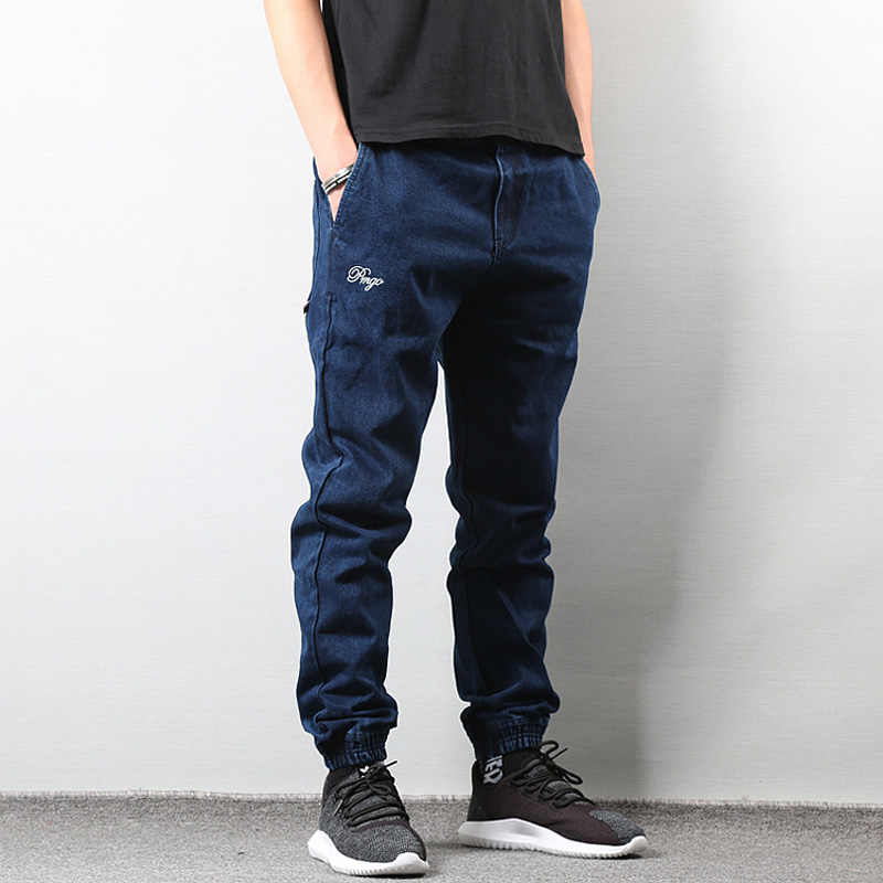 Japanese Style Fashion Men Jeans Blue Color Slim Fit Denim Cargo Pants Hombre Long Trousers Streetwear Hip Hop Joggers Jeans Men Jeans Aliexpress