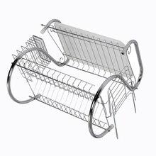 Новый 2 Уровня Chrome тарелка блюдо столовые приборы чашки drainer стойку поддон пластины